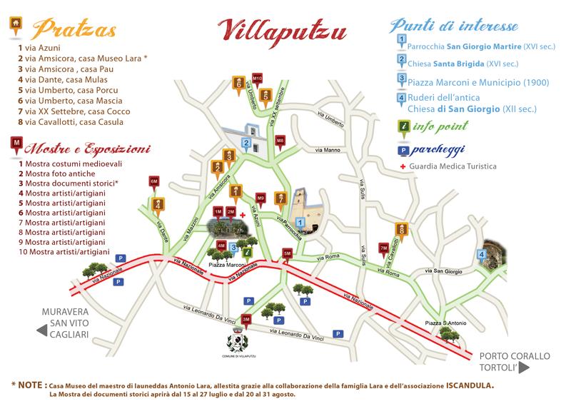 Mappa di Pratzas in festa – Estate Villaputzese 2013
