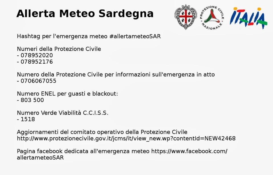Allerta Meteo Sardegna - Numeri utili