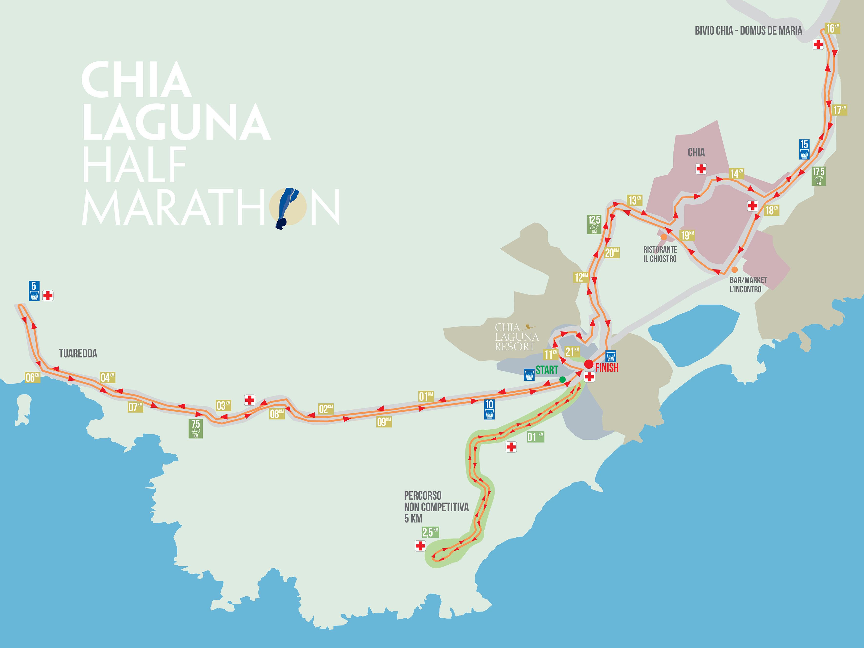 Il percorso della Chia Laguna Half Marathon