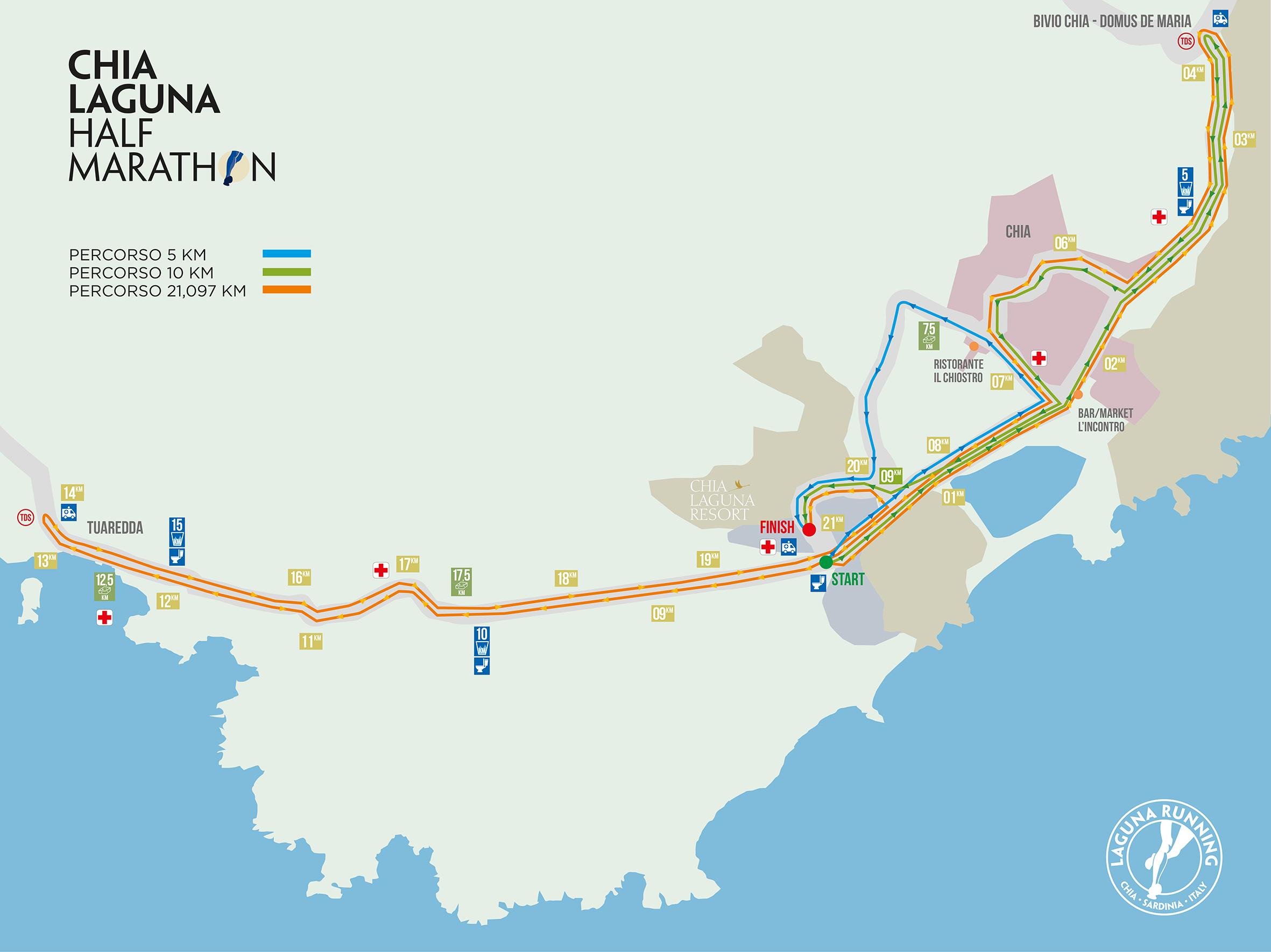 Il percorso della Chia Laguna Half Marathon 2014