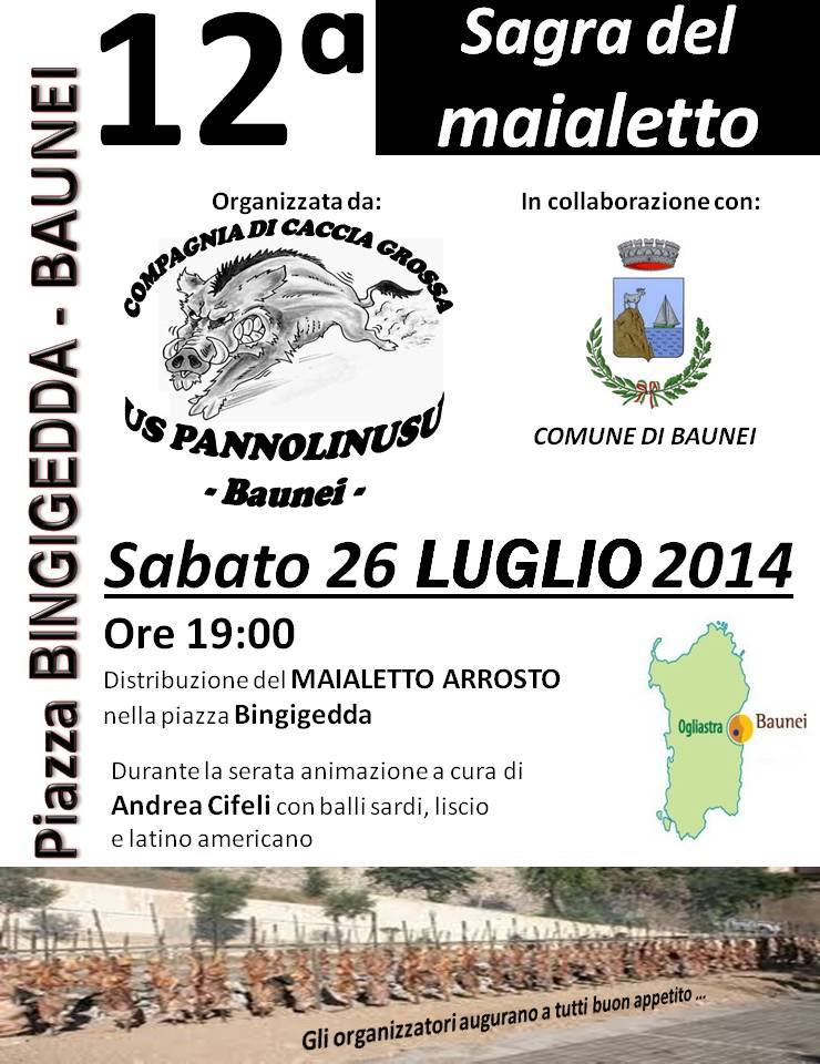 12^a Sagra del Maialetto di Baunei - Sabato 26 Luglio 2014