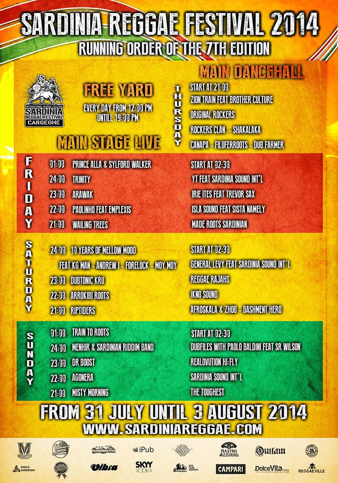 Sardinian Reggae Festival 2014 a Cargeghe - Programma
