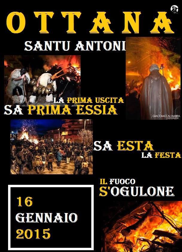 Fuochi Sant'Antonio Abate a Ottana - Venerdì 16 Gennaio 2015