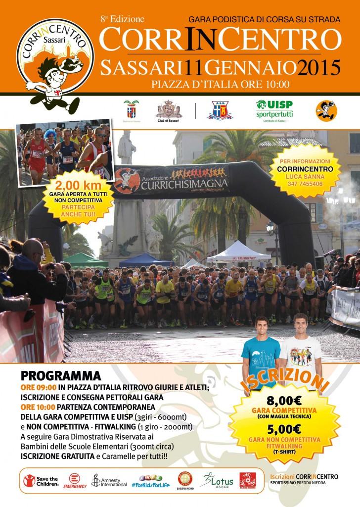 VIII edizione Corrincentro - Domenica 11 Gennaio 2015 a Sassari - Programma