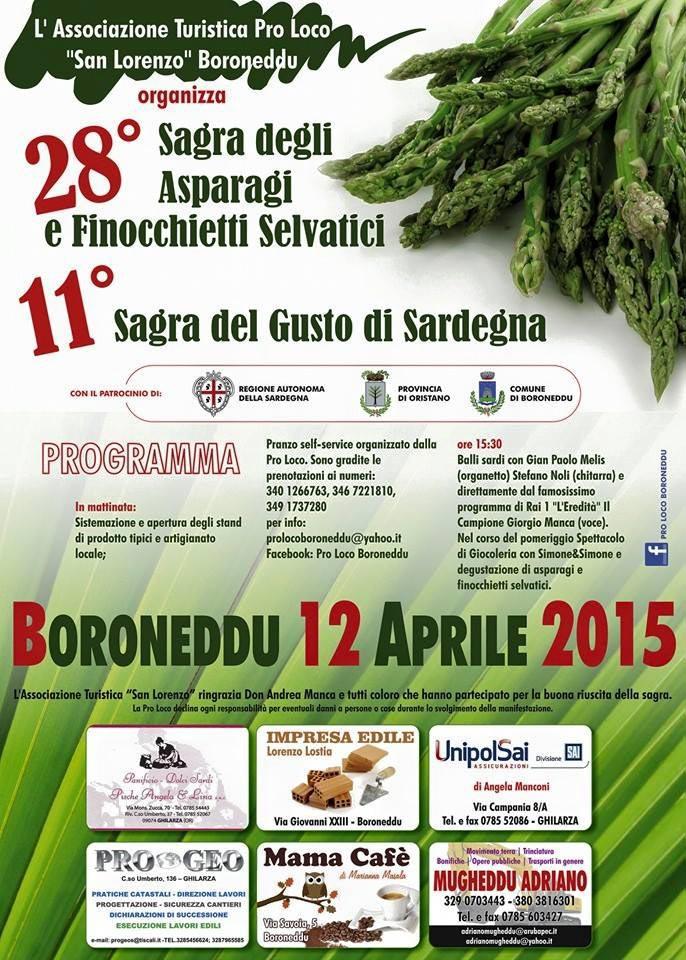 Sagra degli Asparagi e dei Finocchietti Selvatici - A Boroneddu Domenica 12 Aprile 2015