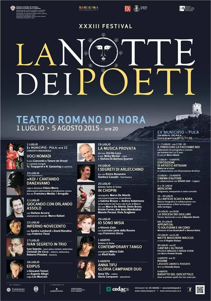 """XXXIII Festival """"La Notte dei Poeti"""" al Teatro Romano di Nora - A Pula dal 1 Luglio al 5 Agosto 2015"""