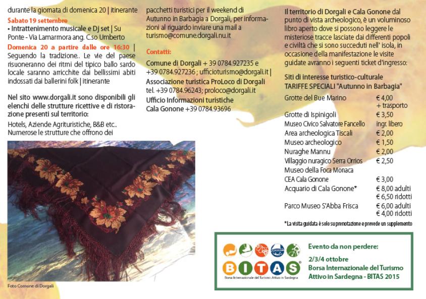 Autunno in Barbagia 2015 a Dorgali – Programma