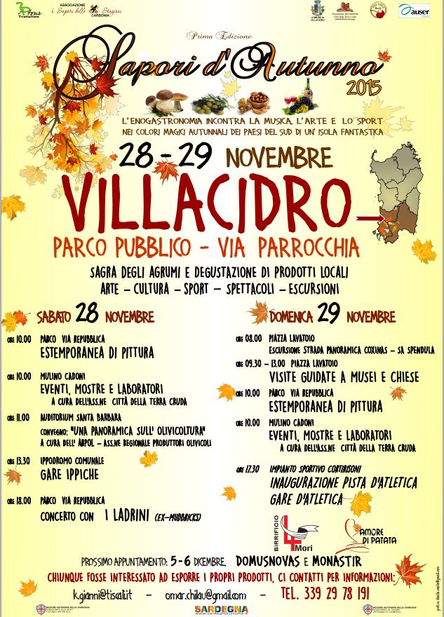 Sapori d'Autunno a Villacidro - Sabato 28 e Domenica 29 Novembre 2015