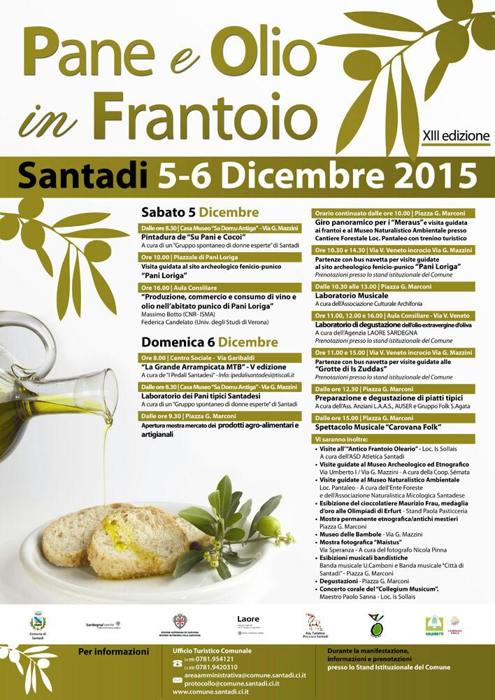 Pane e Olio in Frantoio a Santadi - Il 5 e 6 Dicembre 2015