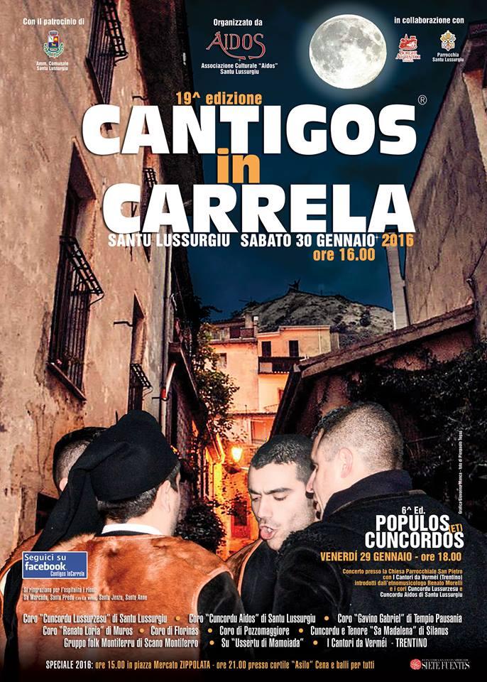 Cantigos in Carrela a Santu Lussurgiu - Sabato 30 Gennaio 2016
