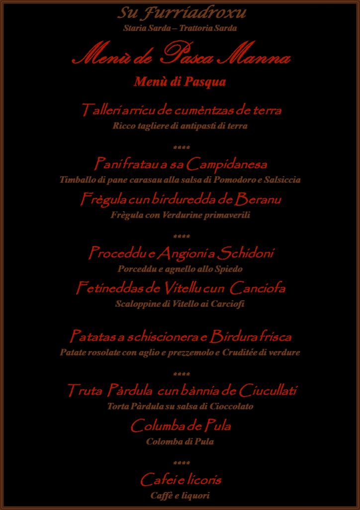 Il Menù di Pasqua 2016 a Su Furriadroxu - Menù de Pasca Manna