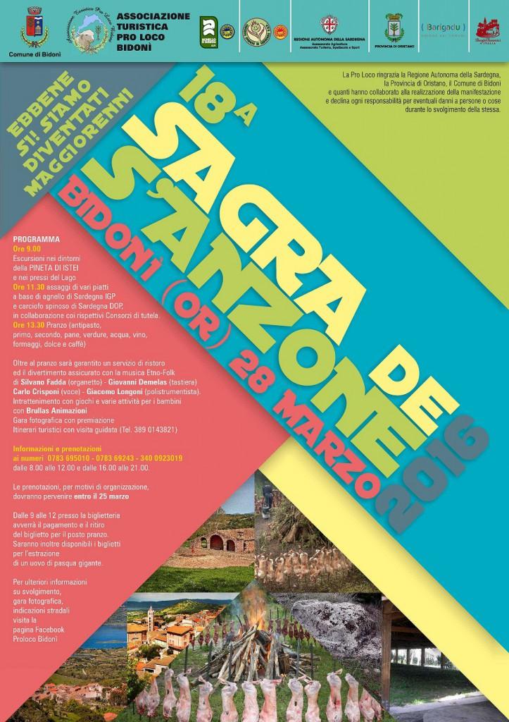 18^ Sagra de s'Anzone a Bidonì a Pasquetta - Lunedì 28 Marzo 2016