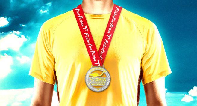 La medaglia della Chia Laguna Half Marathon 2016
