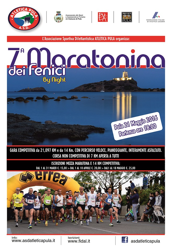 7^ edizione della Maratonina dei Fenici - A Pula il 21 Maggio 2016