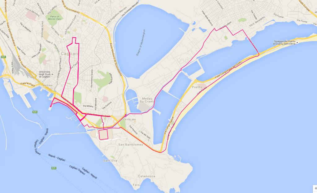 Percorso della 7^ edizione della Maratona di Cagliari