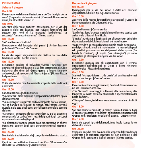 Primavera nel Marghine, Ogliastra e Baronia a Baunei - Programma
