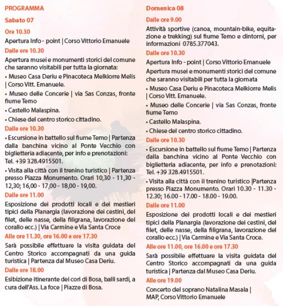 Primavera nel Marghine, Ogliastra e Baronia – A Bosa il 7 e 8 Maggio 2016