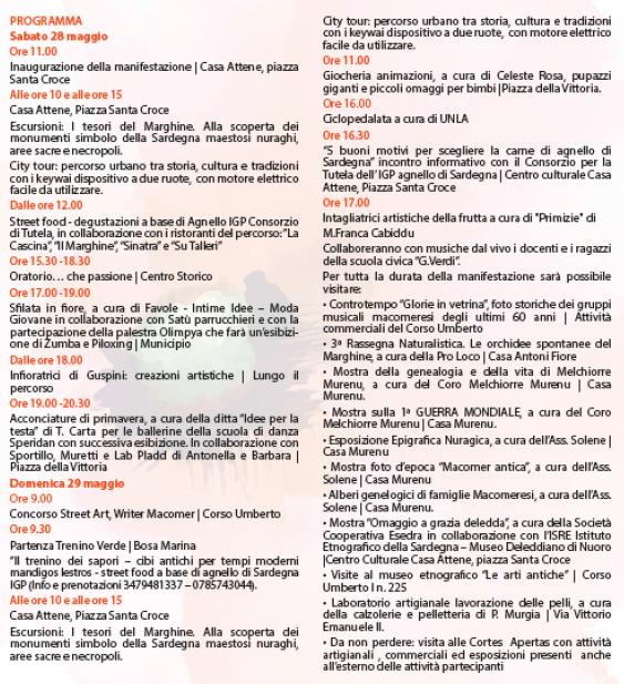 Primavera nel Marghine, Ogliastra e Baronia a Macomer - Programma