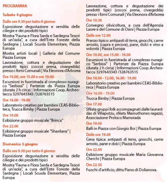 Primavera nel Marghine, Ogliastra e Baronia a Osini - Programma