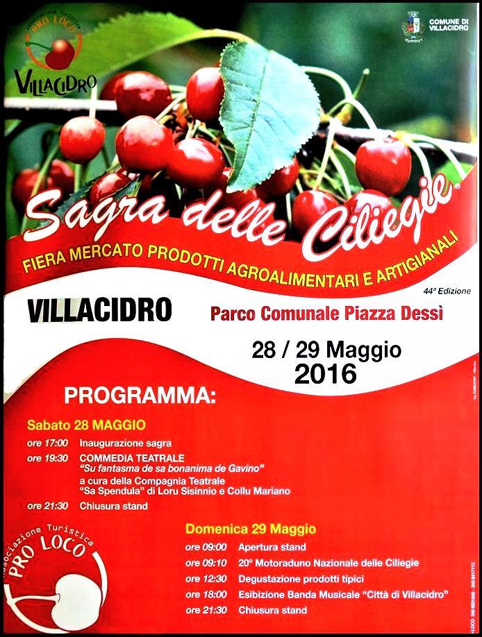 44^ Sagra delle ciliegie a Villacidro - Sabato 28 e Domenica 29 Maggio 2016