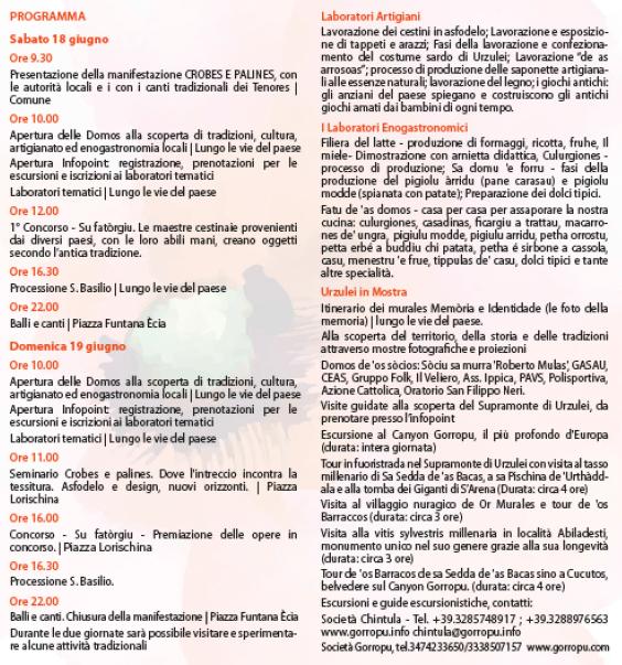 Primavera nel Marghine, Ogliastra e Baronia ad Urzulei - Programma