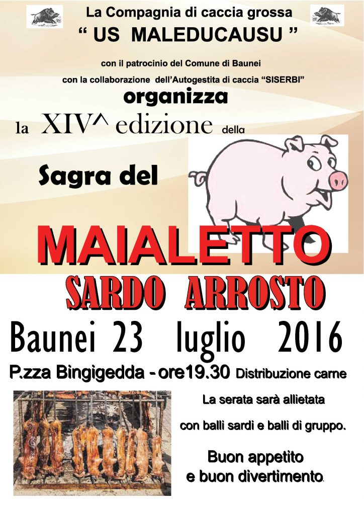 14^ sagra del maialetto sardo arrosto - A Baunei il 23 luglio 2016