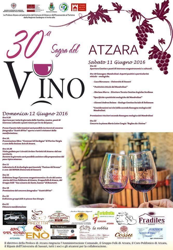 30^ Sagra del Vino ad Atzara - Sabato 11 e Domenica 12 Giugno 2016