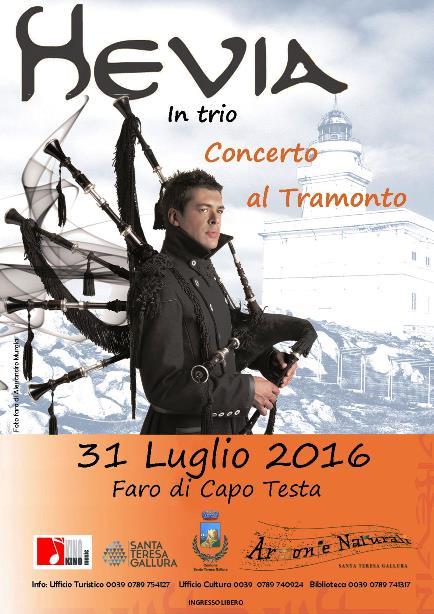 Hevia e il suo Trio in concerto al Faro di Capo Testa - Domenica 31 luglio 2016