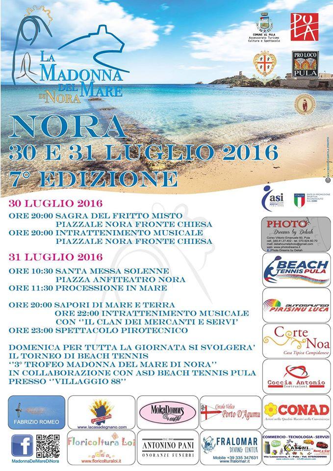 7^ edizione Madonna Del Mare Di Nora - 30 e 31 luglio 2016 a Nora