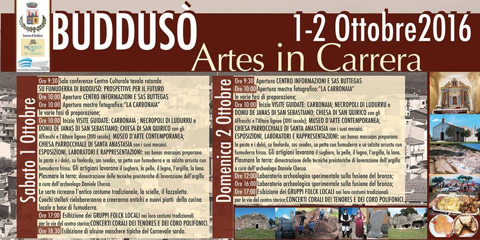Artes in Carrera 2016 a Buddusò - Sabato 1 e domenica 2 ottobre