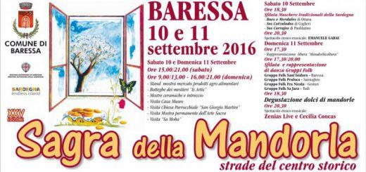 XXV edizione della Sagra della Mandorla a Baressa - Sabato 10 e domenica 11 settembre 2016