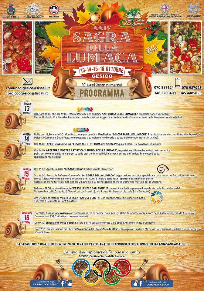 Eventi della XXIV edizione della Sagra della lumaca - A Gesico dal 13 al 16 ottobre 2016
