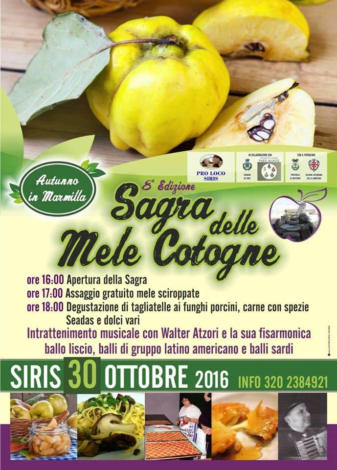 Sagra autunnale delle mele cotogne - A Siris il 30 ottobre 2016