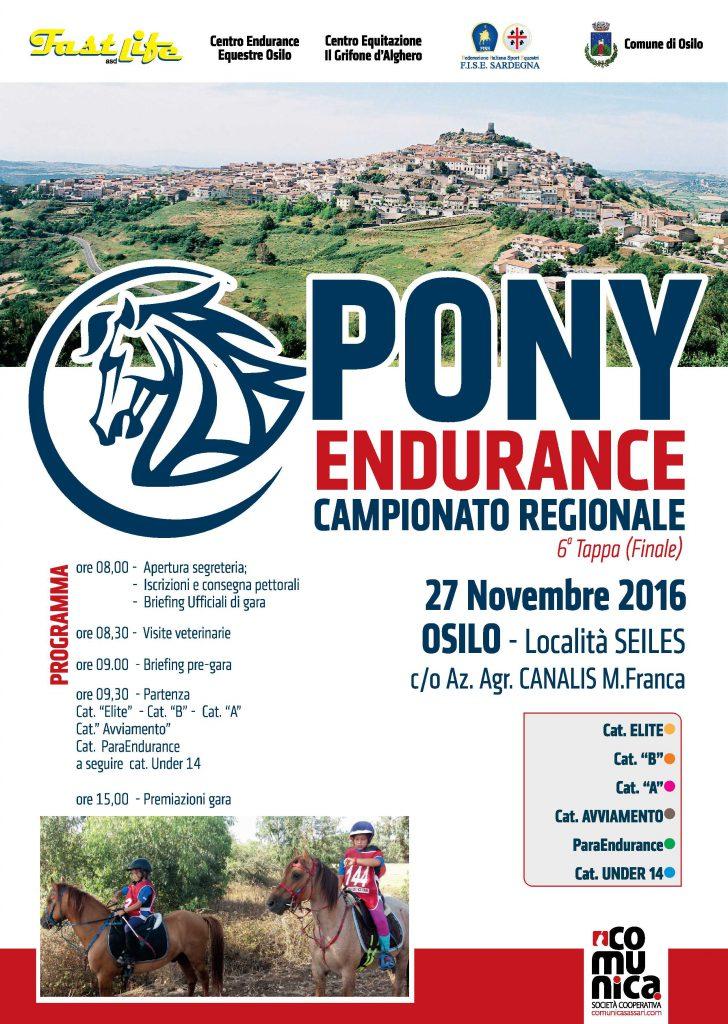 La VI tappa del Campionato Regionale Endurance FISE - Ad Osilo il 27 novembre 2016