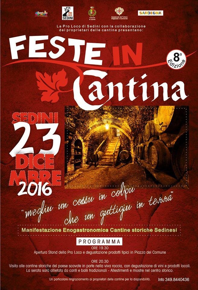 8^ Edizione di Feste in Cantina - A Sedini il 23 dicembre 2016