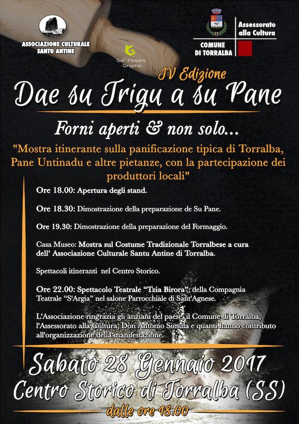 """Dae su Trigu a su Pane"" a Torralba - Sabato 28 gennaio 2017"
