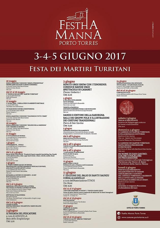 Programma Festha Manna a Porto Torres - Dal 3 al 5 giugno 2017