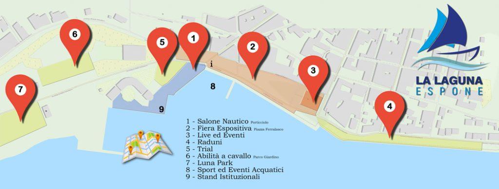 La Laguna Espone - Posizione aree tematiche
