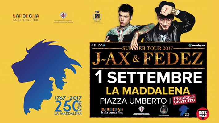 J-Ax & Fedez in concerto a La Maddalena il 1 settembre 2017