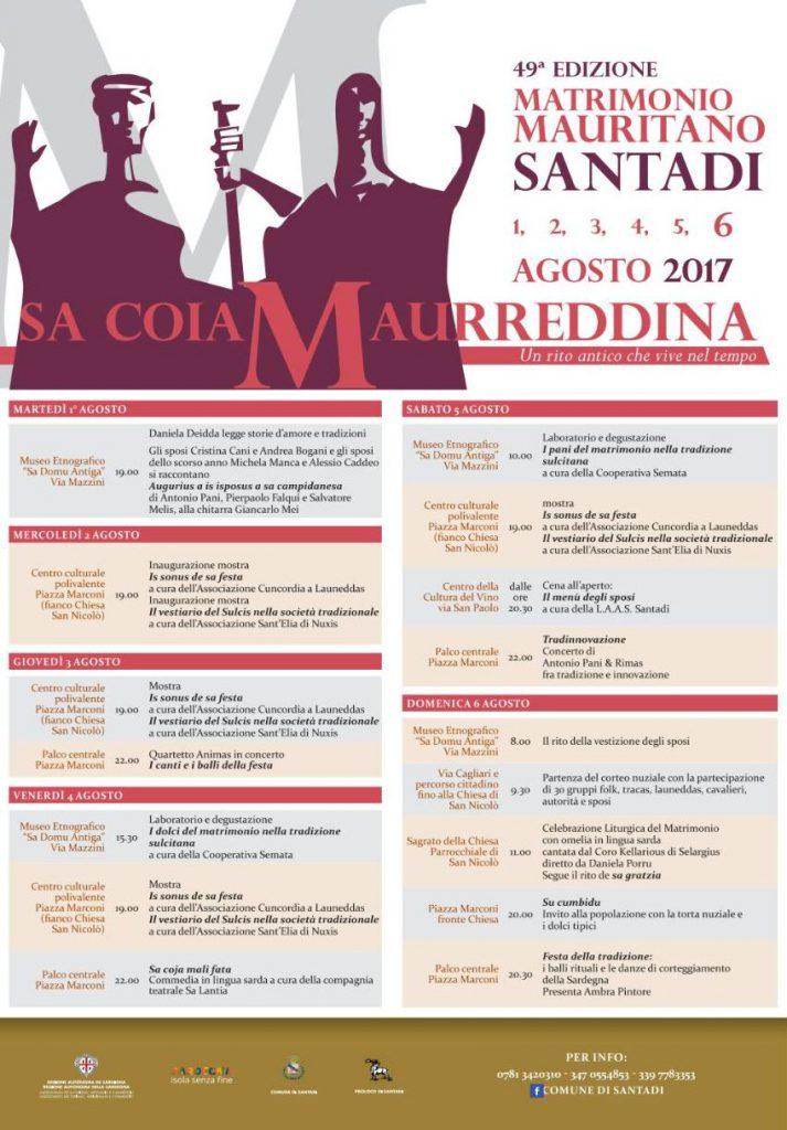 49^ edizione del Matrimonio Mauritano, Sa Coia Maurreddina - A Santadi dall'1 al 6 agosto 2017