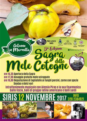 9^ Sagra delle mele cotogne a Siris - Domenica 12 novembre 2017