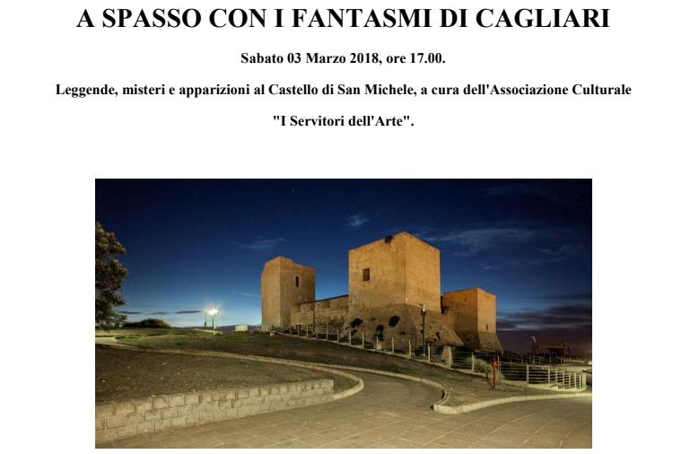 A spasso con i fantasmi di Cagliari - Sabato 3 marzo 2018 presso il Castello di San Michele