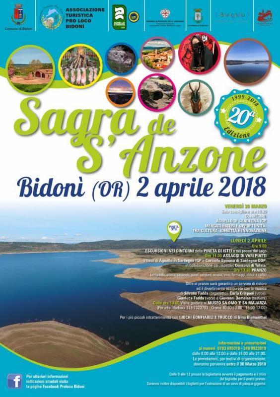 20^ Edizione de Sa Sagra de S'Anzone - A Bidonì il 2 aprile 2018 nel giorno di Pasquetta