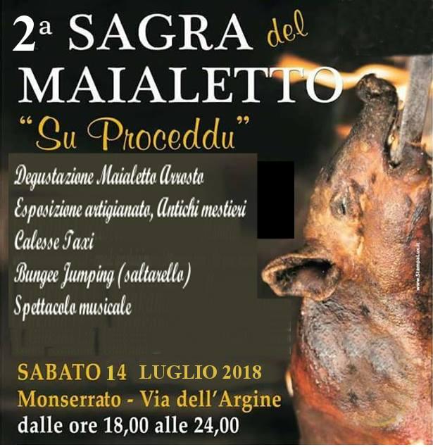 Sagra del Maialetto di Monserrato - Sabato 14 luglio 2018