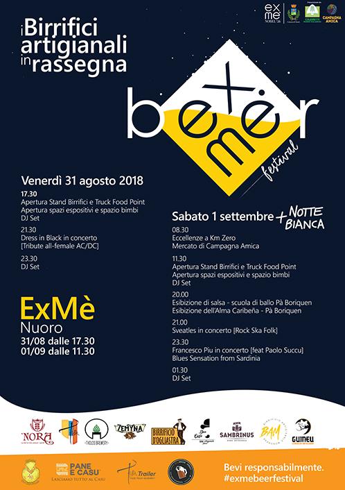 ExMè Beer Festival 2018 a Nuoro - Venerdì 31 agosto e sabato 1 settembre 2018