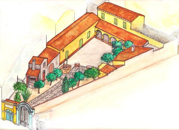 Un disegno della casa campidanese che ospita Su Furriadroxu