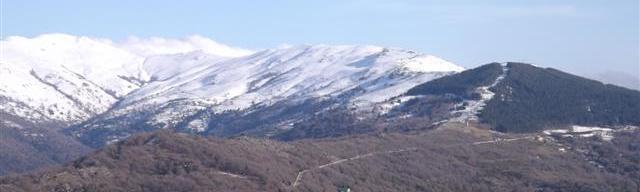 Le cime innevate del Gennargentu come si vedono dal percorso di SensOrizzonte