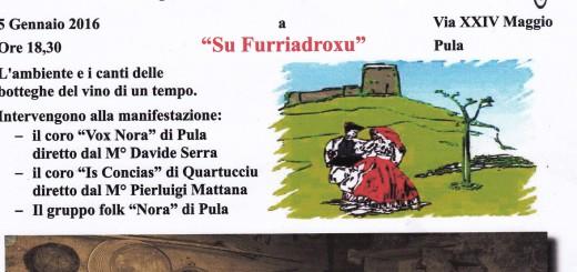 """""""Canti Di…Vini"""" a Su Furiadroxu a Pula - Martedì 5 Gennaio 2016"""