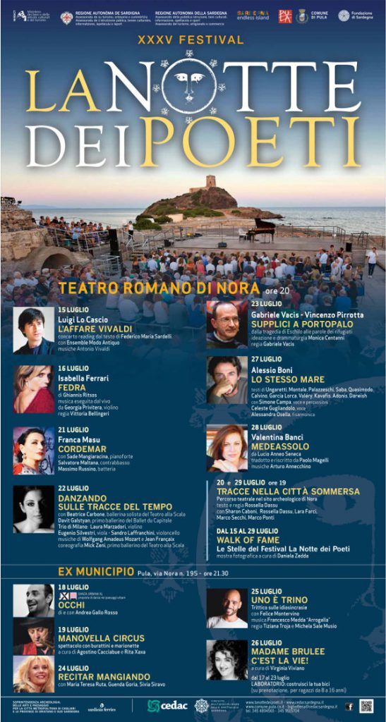 XXXV edizione del Festival La Notte dei Poeti - Dal 15 al 30 luglio 2017 a Nora e Pula
