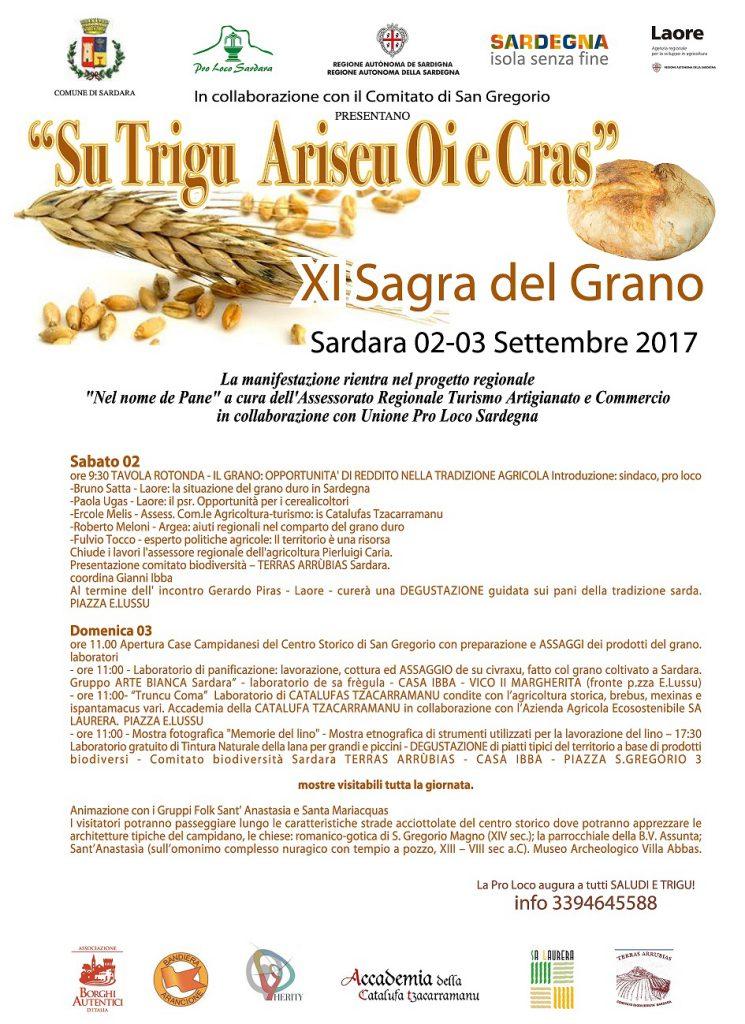 """XI Sagra del grano """"Su trigu ariseu oi e cras"""" a Sardara - Sabato 2 domenica 3 settembre 2017"""